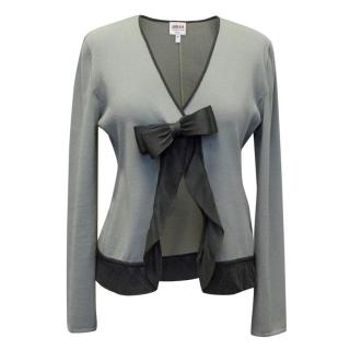 Armani Grey Cardigan with Bow Detail