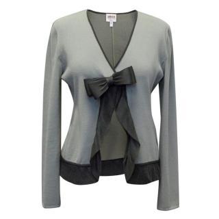 Armani Grey Cardigan with Bow Detail