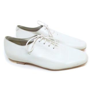Bottega Veneta Cream Leather Dress Shoes