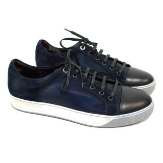 Lanvin Navy Suede Trainers with Mesh Blue Front