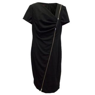 Escada Zip Front Black Dress