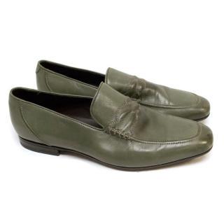 Bottega Veneta Olive Green Loafers