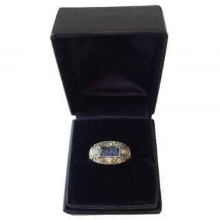Platinum art deco sapphire ring