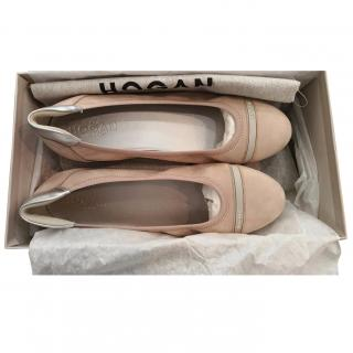 HOGAN Nude Pink Soft Leather Ballerina Shoes