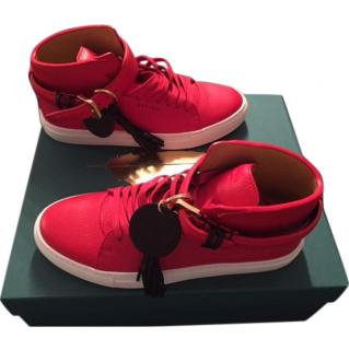Buscemi  Red and White High Top 100mm Tassle Sneaker