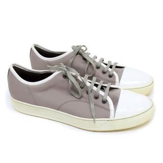Lanvin Grey Trainers with Patent White Front