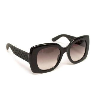Bottega Veneta Black Square Sunglasses with Leather Case