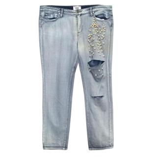 Paige Light Washed Destroyed Jeans with Pearl Decoration