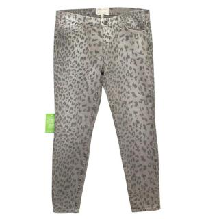 Current Elliott Grey Leopard Print Skinny Jeans