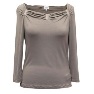 Armani Grey Ruched Neck-Line Top