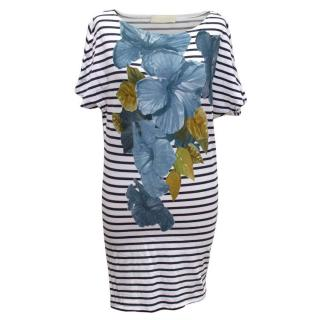 Stella McCartney Striped Dress with Blue Flower Print