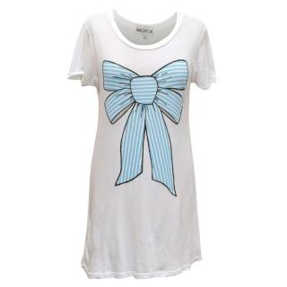 Wildfox Long White T-Shirt with Bow Print