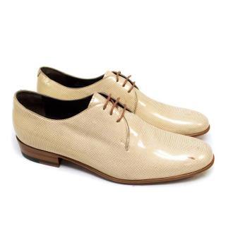 Lanvin Cream Shiny Shoes with Gold Spots