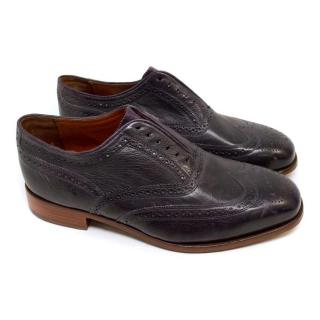 Florsheim Dark Purple Laceless Brogues
