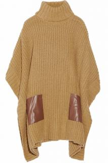 Michael Michael Kors camel ribbed knit poncho faux leather pockets