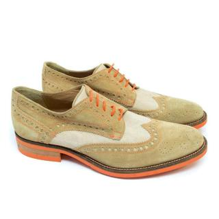 Donald J Pliner Beige Suede and Canvas Brogues