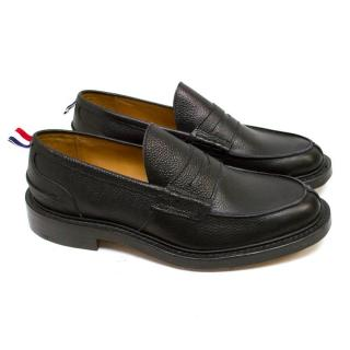 Thom Browne Black Leather Loafers with Multicoloured Label