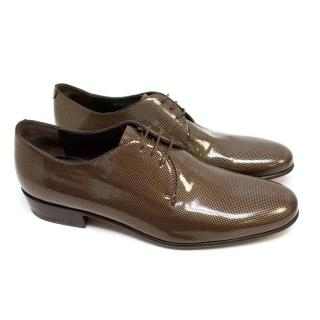 Lanvin Brown Patent Shoes with Gold Spots