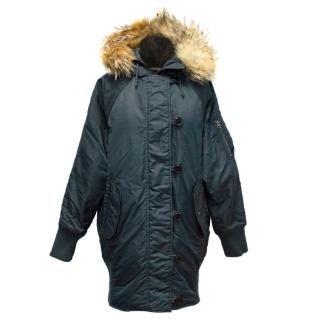 I. Spiewak & Sons Padded Navy Jacket with Coyote Fur Trim