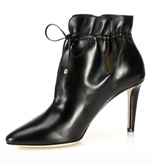 Jimmy Choo Murphy 85 Cinched Leather Point-Toe Booties
