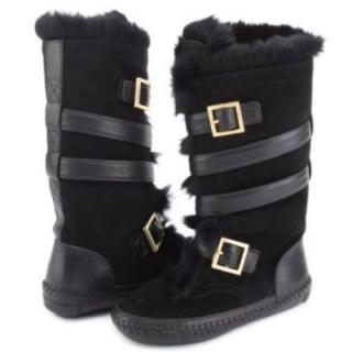 Tory Burch rabbit fur lined moccasin flat Boots~uk 7