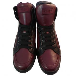 Prada leather high top sneakers in burgundy