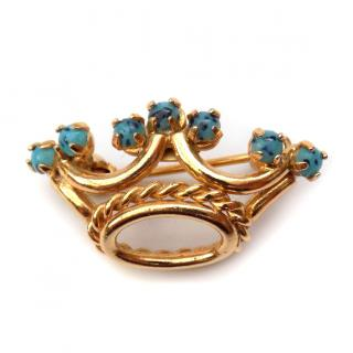 Christian Dior Vintage Crown brooch with Turquoise Crystals.