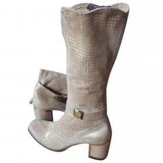 Demis gold/beige leather boots