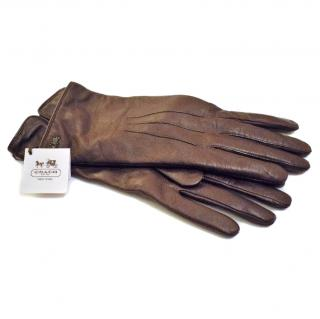 Coach Bordeaux Leather Gloves