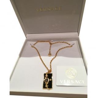 Versace Ornate Resin Bar Pendant Necklace