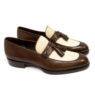 Tom Ford Brown Leather Loafers with Cream Suede & Tassels