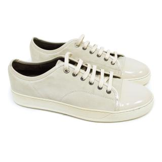 Lanvin Cream Suede Trainers with Patent Leather Front Panel