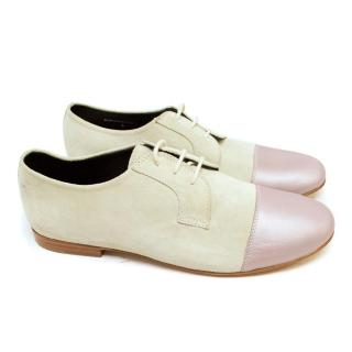 Lanvin Cream Suede Brogues with Metallic Lilac Tips