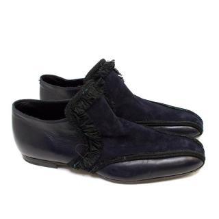 Bottega Veneta Navy Blue Leather & Suede Shoes with Ruffles