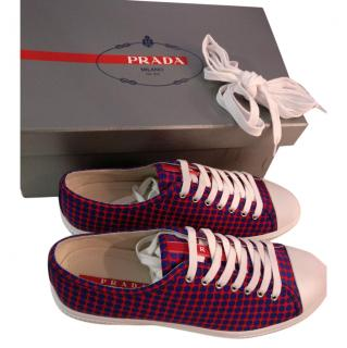 Prada leather Sneakers Red and Blue
