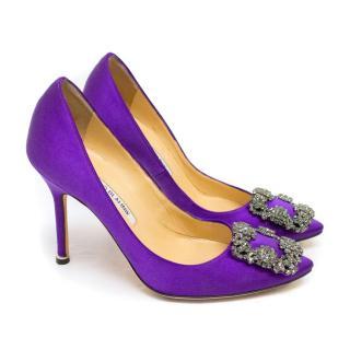 Manolo Blahnik Purple Hanisi 105 Satin Pumps