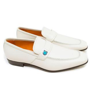 Salvatore Ferragamo White Leather Loafers