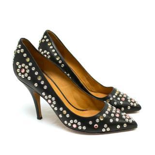 Isabel Marant Black Leather Pumps with Embellishment