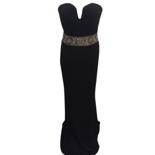 Black formal gown with beaded detail