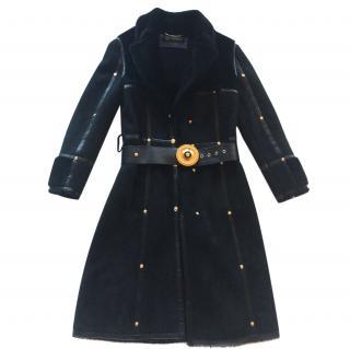 Versace suede fur leather coat