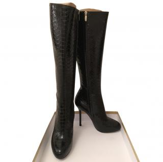 Sergio Rossi snake embossed boots 37.5
