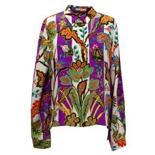 Balenciaga Purple & Cream Silk Shirt with Floral Print