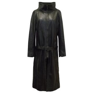GFF Black Leather Trench Coat