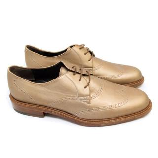 Lanvin Gold Brogues with Beige Suede Toe Caps