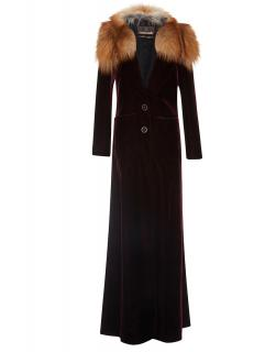 Roberto Cavalli Velvet Coat with Fox Fur Collar
