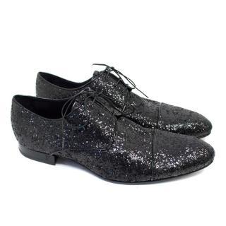 Louis Vuitton Black Glitter Dress Shoes