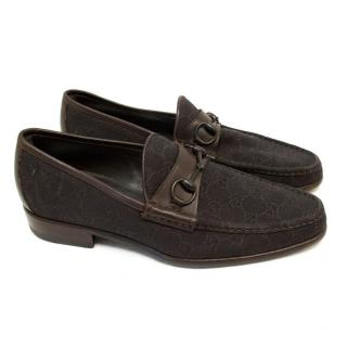 Gucci Brown Canvas Monogram Loafers
