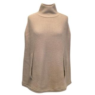 Halston Heritage Pink Ribbed-Knit Wool Mock Neck Poncho