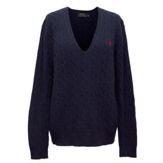 Polo Ralph Lauren Navy Blue Wool Cashmere Blend Jumper