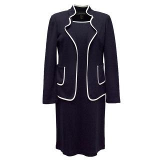St John Navy Blue and White Edged Dress & Blazer